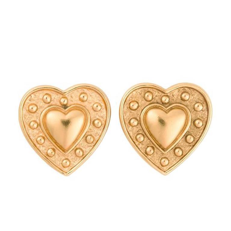 Yves Saint Laurent Heart Earrings For Sale