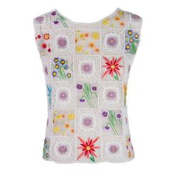 Moschino Cheap & Chic White with Floral Pattern Sleeveless Crochet Top Blouse