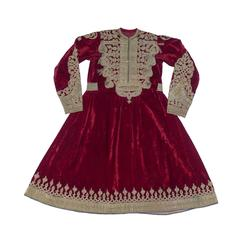 Russian Embroidered Red Velvet Afghan Wedding Dress