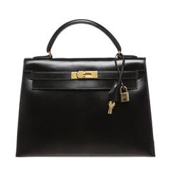 Hermes Black Leather 32cm Kelly Handbag GHW