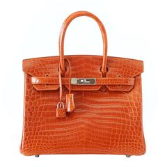 Hermes Birkin 30 Bag Orange Feu Crocodile Palladium Hardware