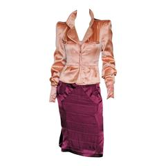 Iconic Tom Ford YSL Rive Gauche 04 Chinoiserie Runway Nude Jacket & Plum Skirt!