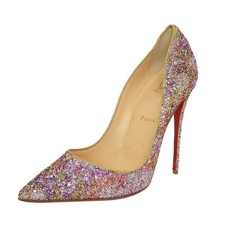 a0bc082c4bf Christian Louboutin Rosette & Gold Glitter 'So Kate 120' Pumps sz 40
