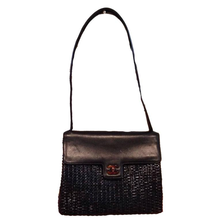 Chanel Black Wicker Rattan and Leather Shoulder Bag For Sale
