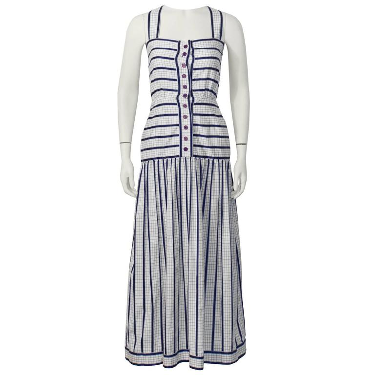 1970's Adele Simpson White and Navy Cotton Maxi Dress For Sale