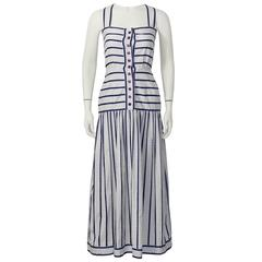 1970's Adele Simpson White and Navy Cotton Maxi Dress
