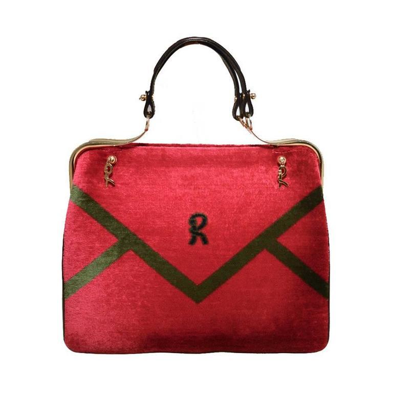 Roberta di Camerino 1960s Black Leather Red Velour Vintage Handbag