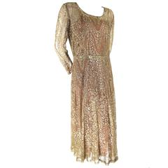 Couture Metallic Lace Gold Thread Dress