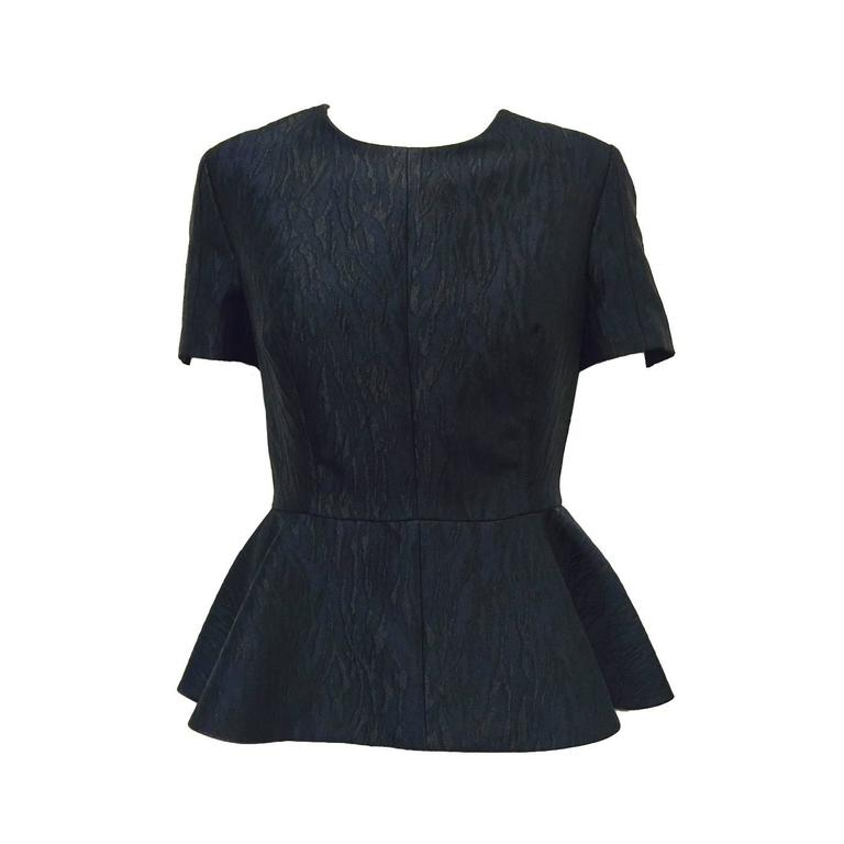 Alexander McQueen Black and Blue Brocade Blouse With Peplum Sz 46 For Sale