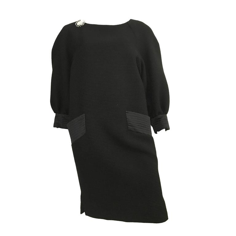 Carolyne Roehm 80s Black Cotton Ribbed Dress Size 10.