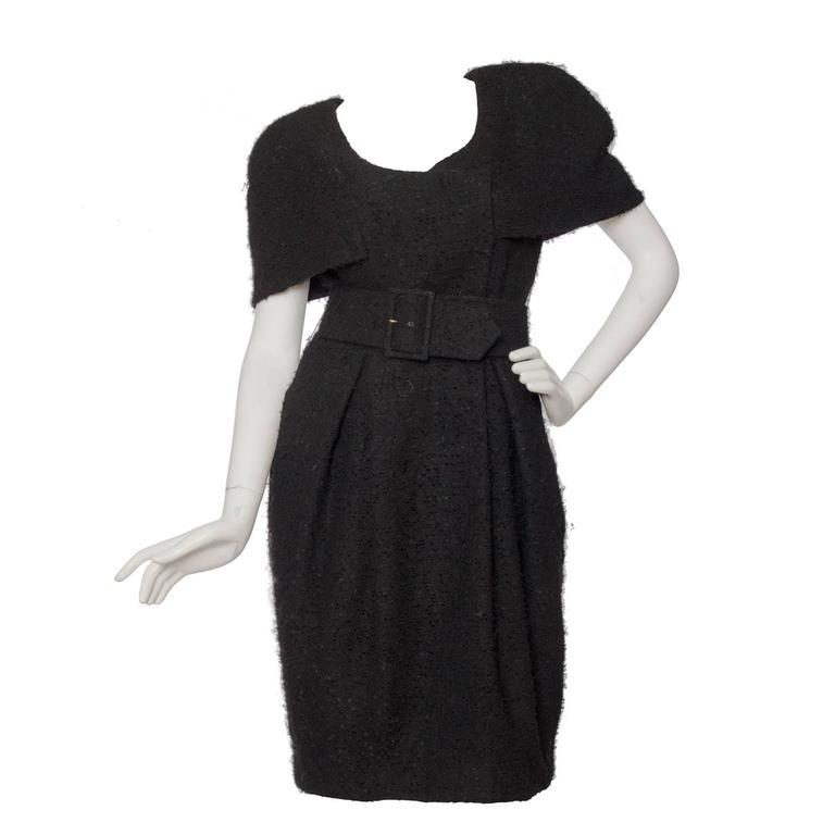 1980s black Caped Murray Arbeid Wool Dress