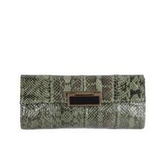 R&Y AUGOUSTI Green Python Snakeskin Leather CLUTCH Handbag PURSE Pouch BAG