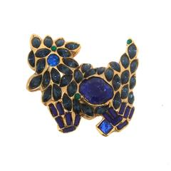 Alexis Lahellec Paris Blue Dog Brooch
