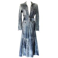 Gianni Versace Blue Demin/Jeans-Style Distressed Leather Dress Gown