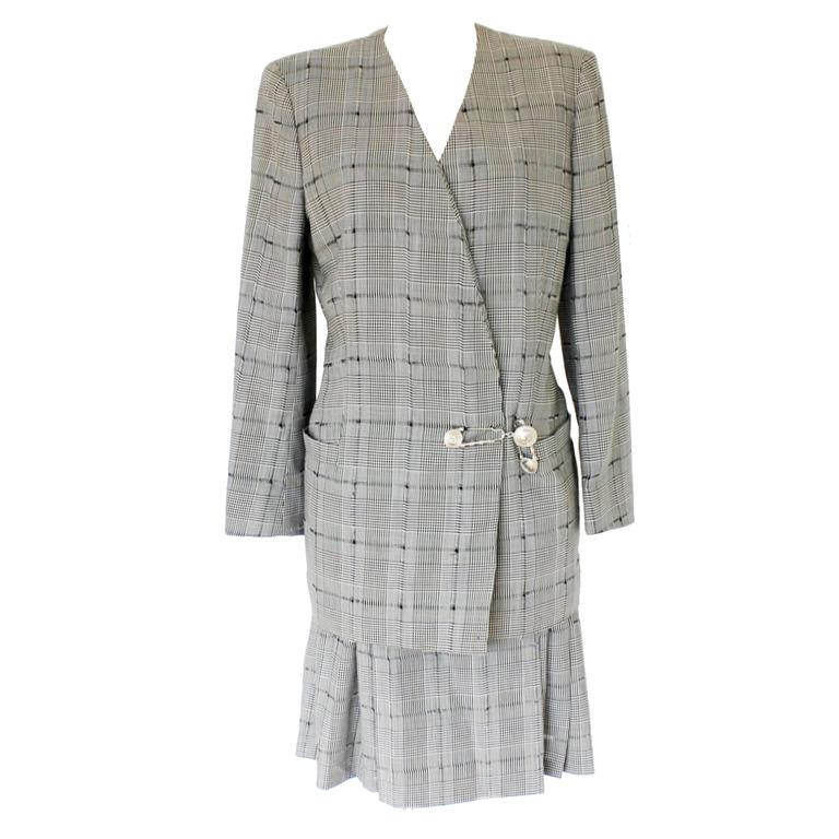 Amazing Gianni Versace Couture SS 1994 Safety Pin Preppy Skirt Suit