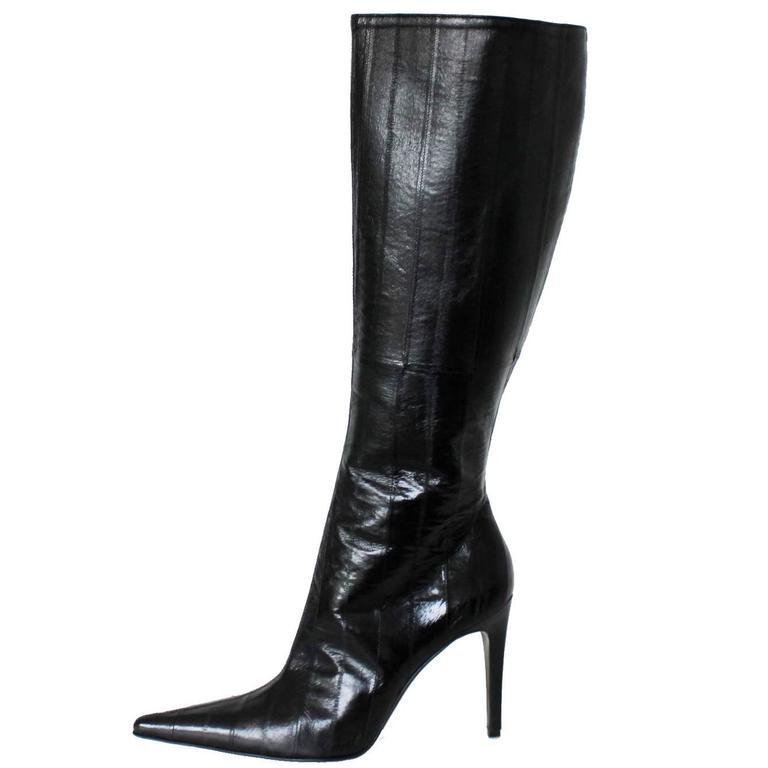 Stunning Gianni Versace Couture Eel Skin Stiletto Boots 39.5