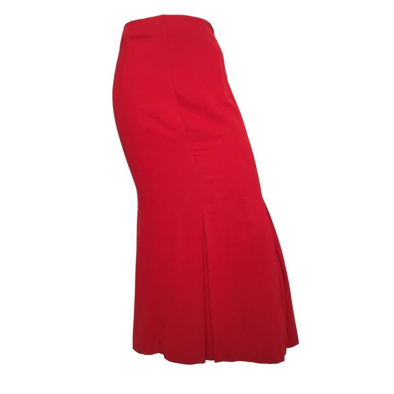 Norma Kamali Red Cotton Long Pleated Skirt Size 4.