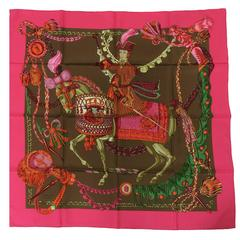 "Hermes  Le Timbalier silk twill scarf by Françoise Heron NWT 36"" x 36"""