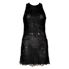 Rare Gianni Versace Couture Crochet Knit Crystal Tulle Mesh Little Black Dress