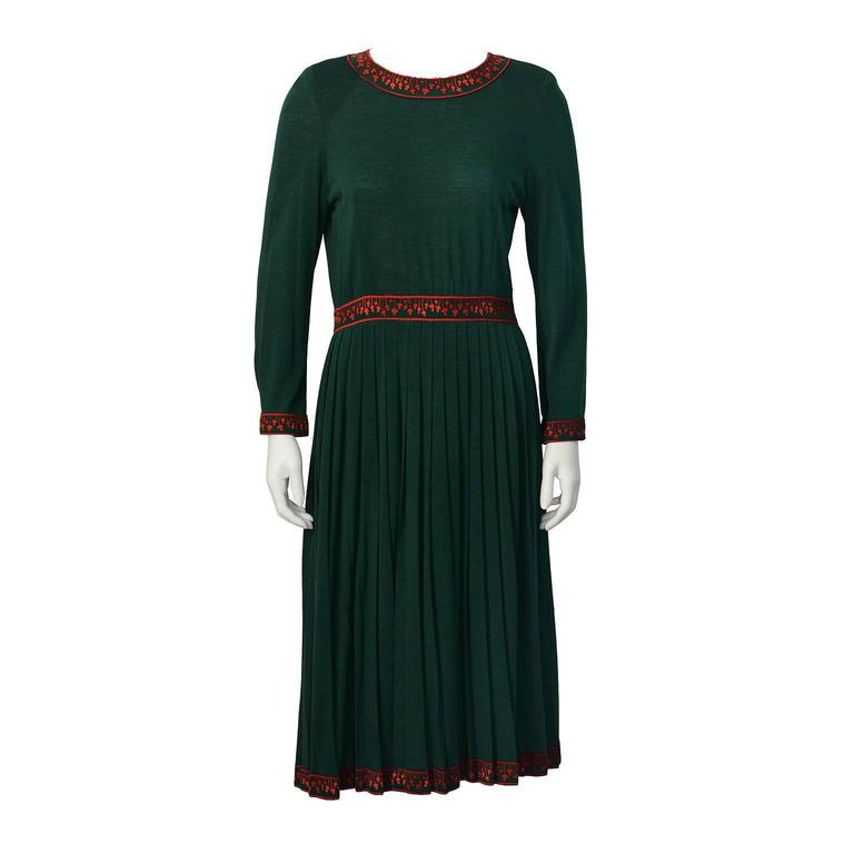 1970's Bessi Green Dress with Fushia Trim