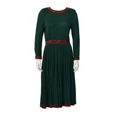 1970's Bessi Green Dress with Fushia Trim