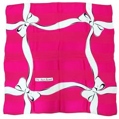 Yves St Laurent hot pink & white woven silk charmeuse scarf with bows 1980s