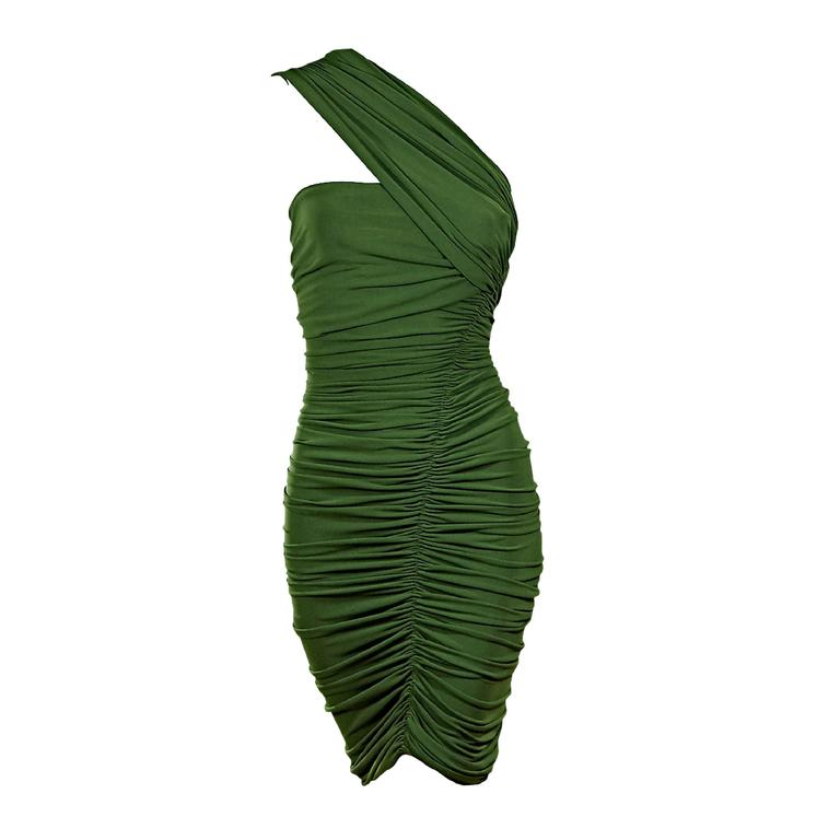 Green Lanvin Ruched Single-Shoulder Dress For Sale