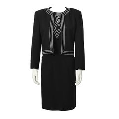 1970's Louis Feraud Black Set with White Embroidery