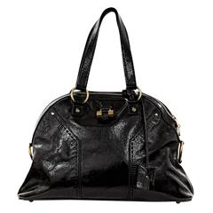Black Yves Saint Laurent Muse Leather Dome Tote Bag