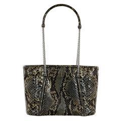 Brown & Green Judith Leiber Python Tote Bag