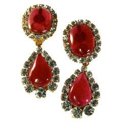 Chanel Large Chandelier Drop Earrings Rose Gripoix + Diamante Season 29 with Box