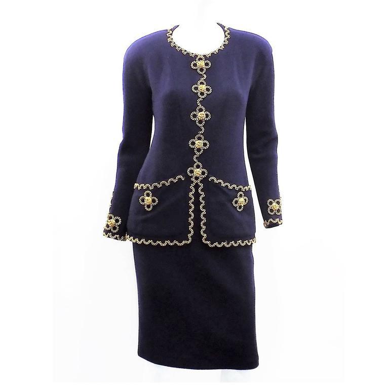 Chanel Vintage  Haute Couture  Four Leaf Clover Chain adorned skirt suit