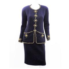Chanel Vintage  Haute Couture  Four Leaf Clover Chain adorned skirt suit OMG!