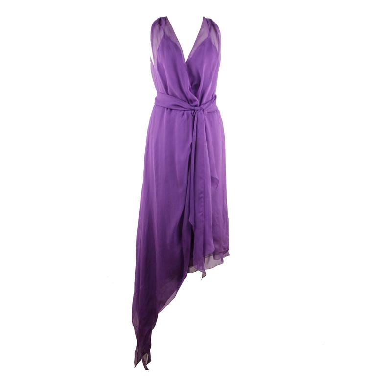 CHANEL 2003 Purple Silk Chiffon ASYMMETRICAL Hem LONG DRESS w/ Stole SIZE 40 FR For Sale