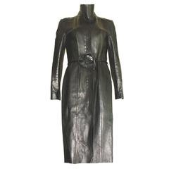 Iconic Gucci by Tom Ford FW 1999 Black Leather Coat with Belt