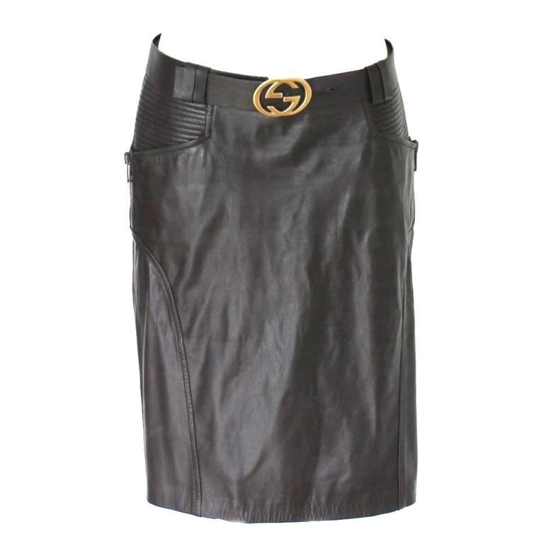 Gucci by Tom Ford FW 2003 Chocolate Brown GG Biker Belted Leather Skirt  1