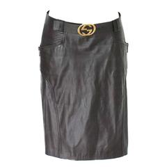 Gucci by Tom Ford FW 2003 Chocolate Brown GG Biker Belted Leather Skirt