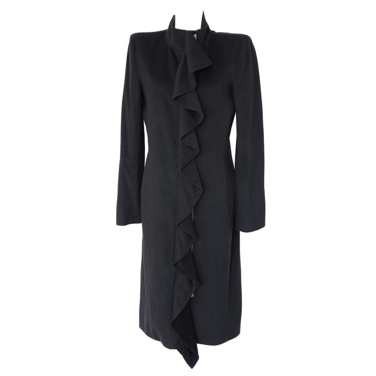 Yves Saint Laurent by Tom Ford Rive Gauche Black Ruffle Coat