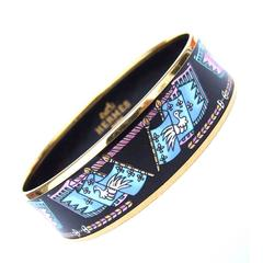 Hermès Enamel Printed Bracelet Flags Gold Hdw Size 65