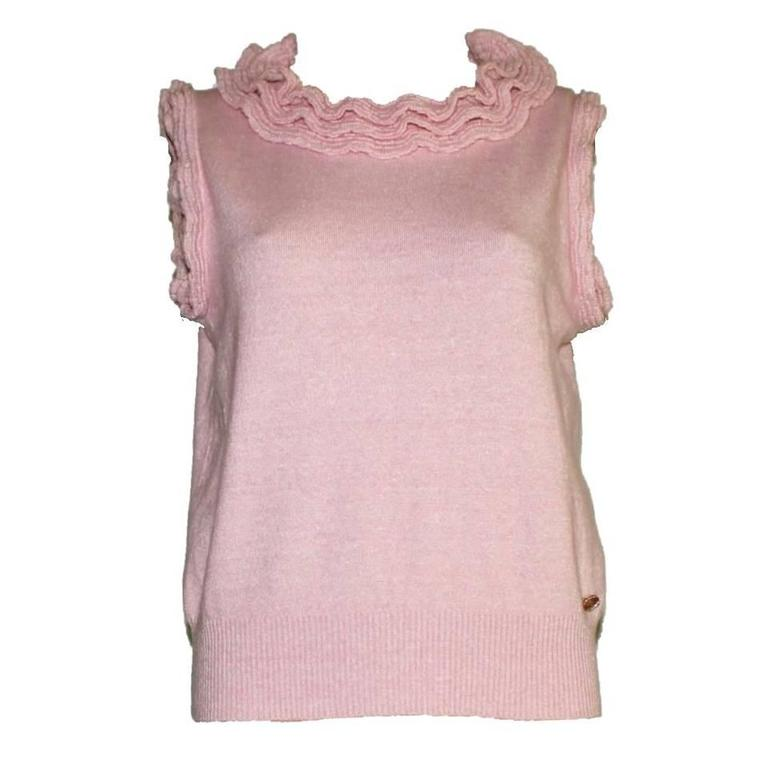 Classic CHANEL Pink Cashmere Mix Ruffled Ruched Knit Pullover Top