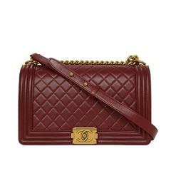 Chanel '15 Burgundy Leather New Medium Boy Bag GHW