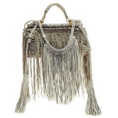 Roberto Cavalli Fringed Doctor Bag Distressed Suede