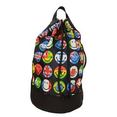 Moschino Multi-Colored Flag & Smiley Print Nylon Drawstring Backpack