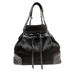 Chanel Black Calf Hair and Leather Drawstring Bucket Bag