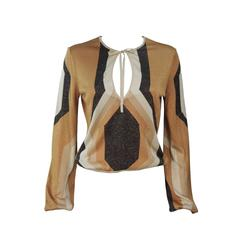 GUCCI Gold Brown and Sand Lurex Knit Tie Front Blouse Size M