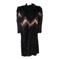 TED LAPIDUS Chevron Mink Coat Size 6-8