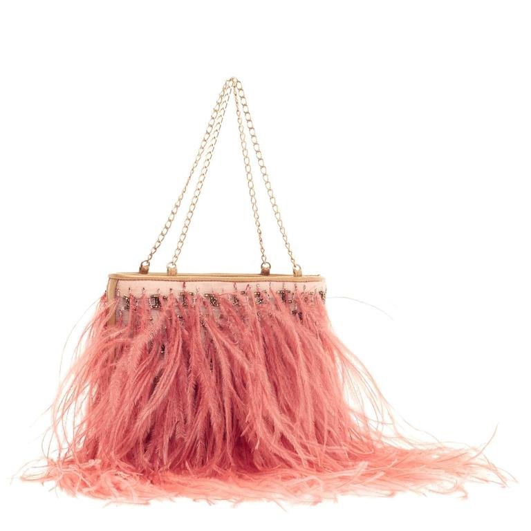 Chanel Chain Strap Pochette Ostrich Feather For