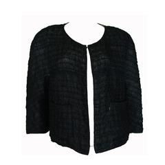 Chanel Black Lace Bolero Jacket Evening A-Line Cream Contrast Lining Size 44