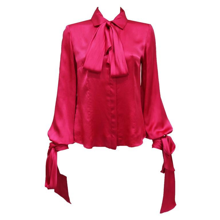 Alexander McQueen fuchsia pink silk evening blouse, c. 2008  1