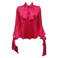 Alexander McQueen fuchsia pink silk evening blouse, c. 2008